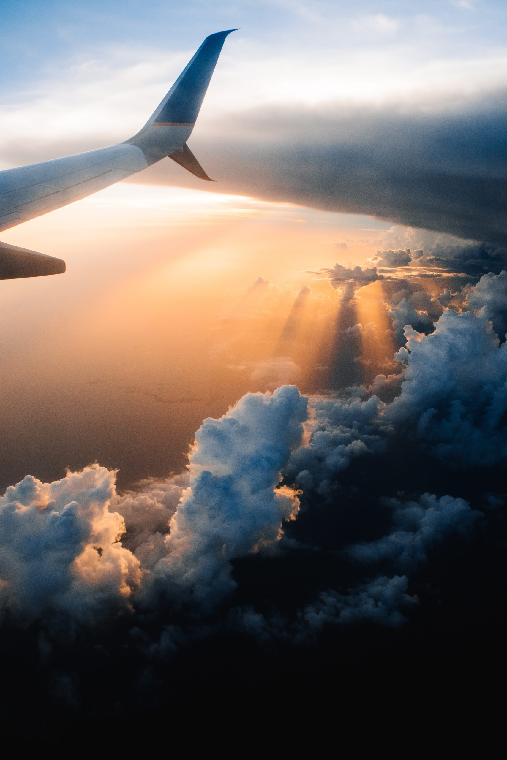 airplane flying in the clouds