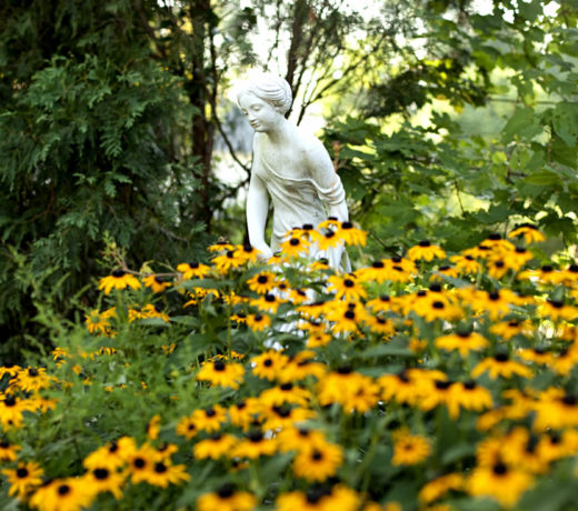 White marble statue of a lady surrounded by yellow flowers