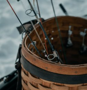 A close-up of a fishing basket on ice