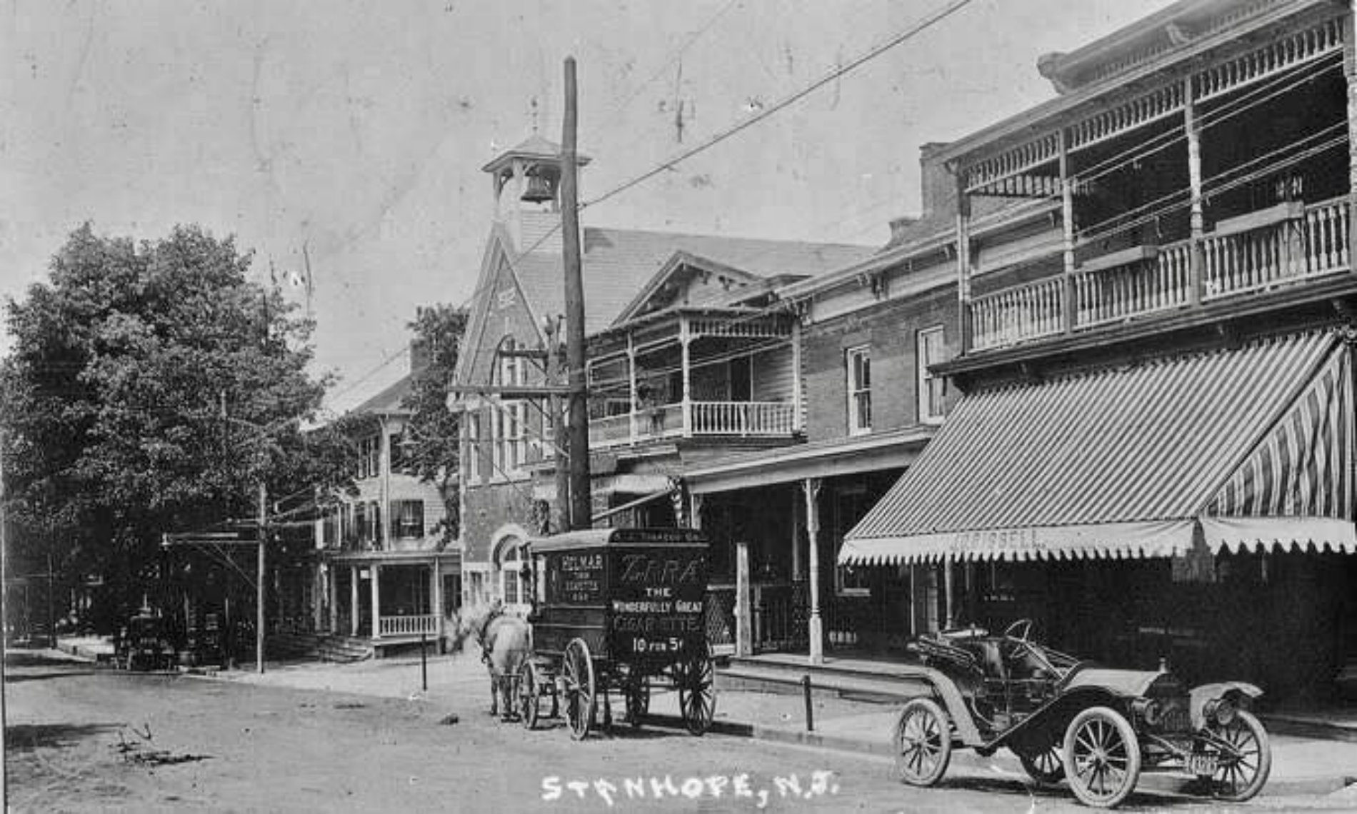 Black and white street scene of the town