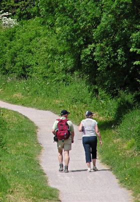 Two hikers walking along a paved trail surrounded by lush trees