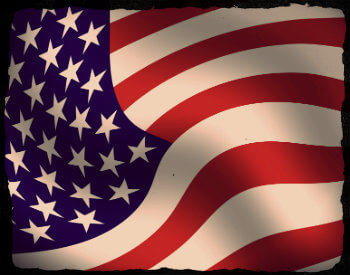 American flag idealized with sepia tone