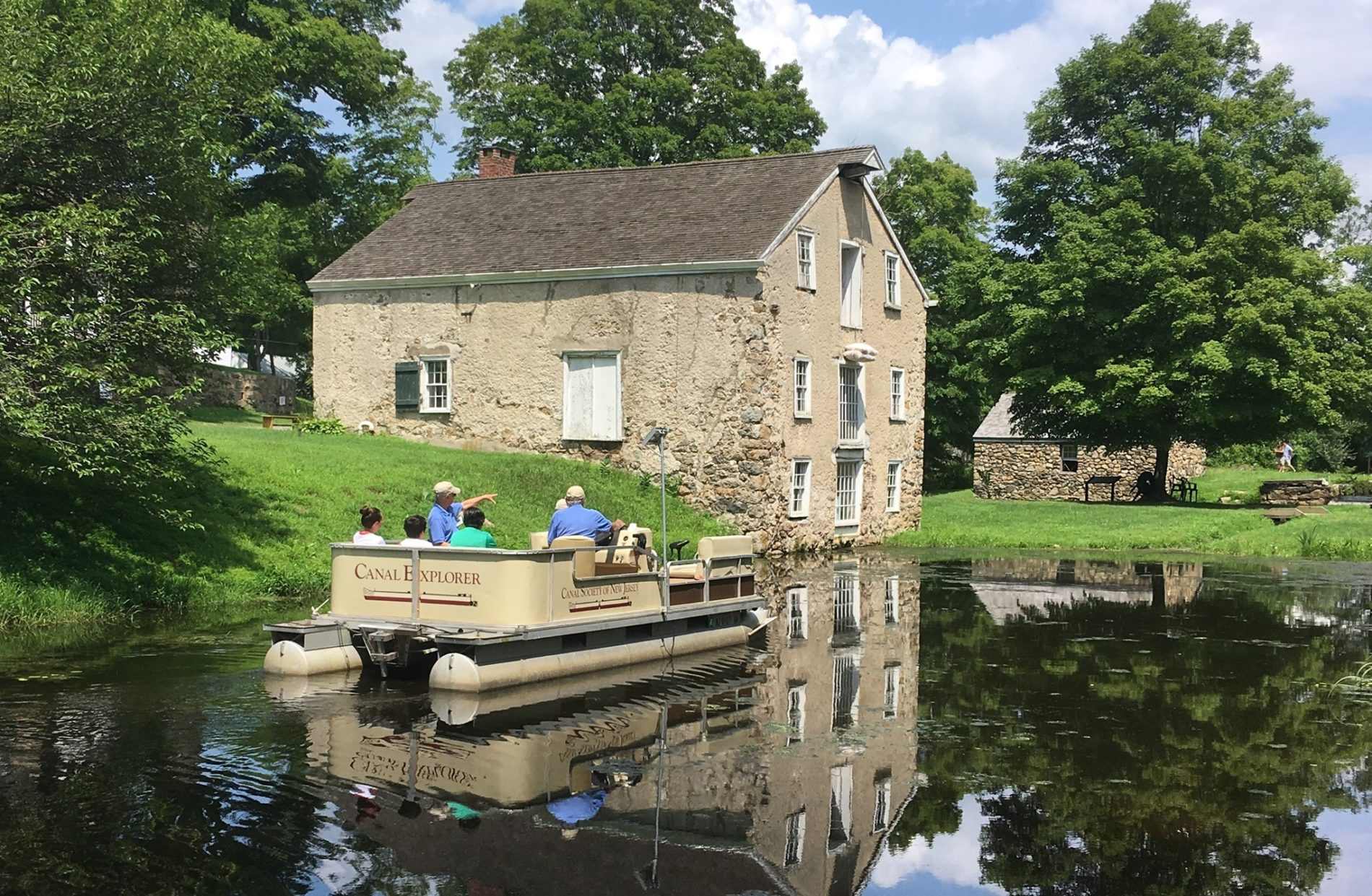 Beautiful old stone buildings along the Morris Canal at Waterloo Village Historic Site